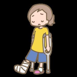 捻挫で固定して松葉杖を使っている様子のイラスト