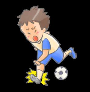 スポーツで捻挫をした様子のイラスト