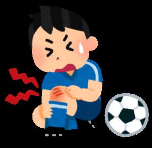 サッカーで膝を捻挫した様子のイラスト